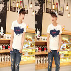 Men Slim Fit Cotton Yourtext Pattern Crew Neck Short Sleeve Casual T-Shirt GFY