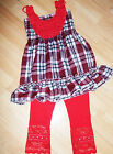 GIRLS RED ROSETTE TARTAN PRINT FRILLY PARTY DRESS TOP & LEGGING SET