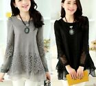 new office lady embroidered lace chiffon balloon sleeve blouse black/beige/gray