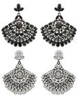 Zest Indian Style Fan Shaped Swarovski Crystal Pierced Drop Earrings