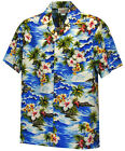 New Mens Blue Hawaiian Aloha Shirt Ocean Waves