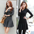 Womens V-Neck Long Sleeve Slim Fit Casual Solid Swing Skater Pleated Dress AC