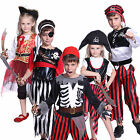 5-10Y Boy Girl Kids Sea Buccaneer Caribbean Pirate Captain Cosplay Fancy Dress