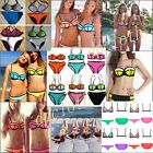 2PCs Woman SEXY Black/Blue/White Brazilian Mesh Style Bikini Set Beach Swimsuit