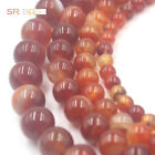 """4-12mm Natural Red Stripe Banded Agate Onyx Gems Round Loose Gemstone Beads 15"""""""