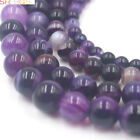 """4 6 8 10 12MM SMOOTH ROUND SHAPE PURPLE BANDED AGATE GEMSTONE BEADS STRAND 15"""""""