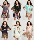 Fashion lady Dress  chiffon Floral summer loose tops shirt dress plus