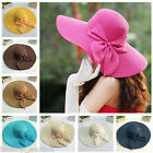 Women Foldable Straw Sunhat Beach Floppy Cap Wide Shell Brim Bowknot 8 Colors