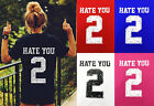 Womens Hate You 2 Casual T Shirt Ladies Loose Jersey Tee Varsity Top Plus 8-22