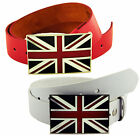 Genuine Leather + PU Bond Union Jack GB Flag Buckle + Snap On Belt Red - White