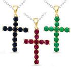 1.10 Tcw Natural Ruby Emerald Or Black Sapphire Cross Pendant W Chain .925