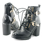 womens party ankle boots chunky heels cleated sole leather buckle lace up shoes