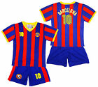 Boy's BARCELONA Logo Sport T-Shirt Top & Shorts Outfit Kit Set 2-14 Years NEW