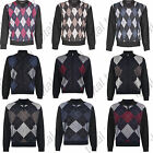 Mens Knitted Sweater Jumper Argyle Diamond Knitwear Golf Top V Neck Zip Up