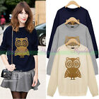 Korean Women Spring Long Sleeve Owl Casual Shirt Pullover Sweatshirt Tops Blouse