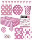 HOT PINK Spots POLKA DOT Partyware Items Tableware Balloons Banners Decorations