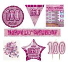 100th Birthday/Age 100 - PINK/GIRL PARTY ITEMS Decorations Tableware-Large Range