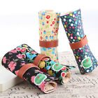 New Floral Canvas Roll Up Makeup Cosmetic Stationery Pen Pencil Case Pouch Bag