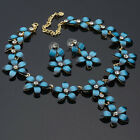 Weddng Jewelry Flower Cut 18K Gold Plated Set Blue Necklace Earring For Dress