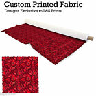 RED PAISLEY DESIGN FABRIC LYCRA SPANDEX ALOBA POLYESTER SATIN L&S PRINTS