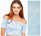 Ladies Floral Printed Off the Shoulder Crop Top Womens Bardot Top Sizes 8 10
