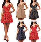 Ladies Spotty Bralet Swing Dress Womens Strappy Polka Dot Skater Sundress 8-18
