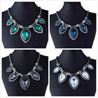 Vintage Big Drop Gem Crystal Choker Chunky Statement bib Necklace Jewelry Gift