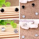 NO EAR HOLE MAN'S UNISEX 6MM ROUND CZ CRYSTAL STUDS MAGNETIC EARRINGS 1 PAIR
