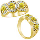 1 Ct Yellow Diamond Three Stone Channel Engagement Wedding Ring 14K Yellow Gold