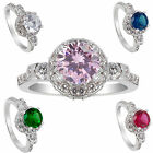 Round Cut White Gold Plated Engagement Fililgree Ring Size 6
