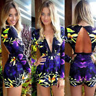 Summer Clothing Women Deep V Neck Long Sleeve Rompers Jumpsuit Short Pant Causal