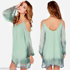 Women Chiffon A-Line Off the Shoulder Spaghetti Straps Beach Shift Dress Green