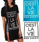 Womens Double 2 Side Split Glamour T Shirt Ladies Mon Cherie Love Casual Top Tee