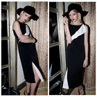 Women British Fashion Celeb Black White Splice Evening Party Cocktail Prom Dress