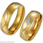 1PC Stainless Steel Ring Couple Rings Band Rhinestone Wedding Engagement