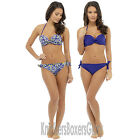 Blue Halterneck Padded Underwired Bikini Top and Bottoms Set Size 10,12,14,16,18