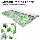 PAINTED PALM TREES DESIGN FABRIC LYCRA SPANDEX ALOBA POLYESTER SATIN L&S PRINTS