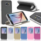For Samsung Galaxy S6 G9200 Flip Folio Window Stand Leather Case Cover Skin