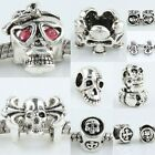 Czech Crystal Punk Disco Hip Hop Skull Skeleton Large Hole Bead Fit Bracelet