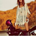 Pop Hippie Boho People Embroidery Floral Lace Crochet Mini Party Dress Tops - LD