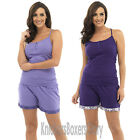Ladies Purple Jersey Camisole/Cami Vest and Shorts Pyjama Set Pyjamas Size 8-18