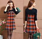 2015 New Women's Girl's Fashion Slim Plaid Dresses Long-Sleeve Skirt Dress S