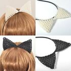 NEW Attractive! Headband Hair Band Cat Ears Hairwear Pearl Bead Accessory