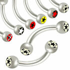 2P Stars logo curved barbell piercing steel ring monroe tragus 9CQQ-SELECT STYLE