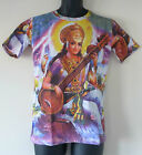 Saraswati Retro Style Print Mens Cotton Short Sleeve T-Shirt Small/Medium