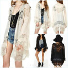 Plus S-5XL Womens Boho Lace Floral Chiffon Kimono Cardigan Coat Jacket Shirt Top
