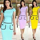 Women Sweet Formal Pinup Square Neck Stretch Bodycon Pencil Dresses KZUK