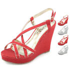 womens shining wedding shoes strappy prom high heels comform sandals wedge shoes