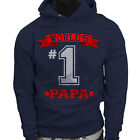 Dad Fathers Day  World's No.1 Papa Best Mens Navy Hoodie