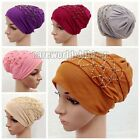 Wholesale Retail 2 Layers Grenadine Handcrafted Bead Muslim Caps Hijab Islamic
